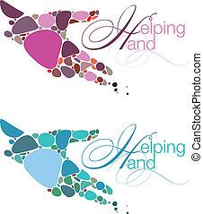 ajudando, emblemas, mão