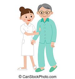 ajudando, enfermeira, homem idoso