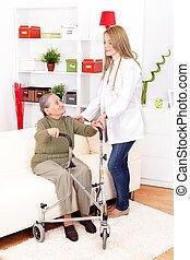 ajudando, enfermeira, mulher, idoso