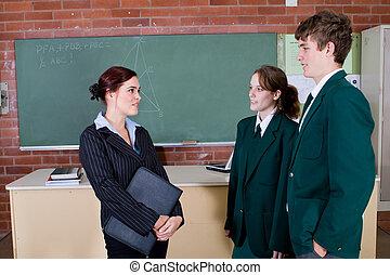 ajudando, estudantes, professor
