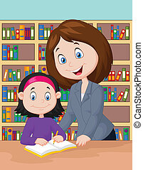ajudando, estudo, pupila, caricatura, professor