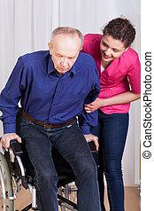 ajudando, incapacitado, paciente enfermeira