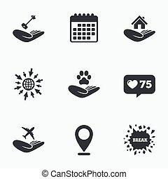 ajudando, insurance., proteção, icons., mãos