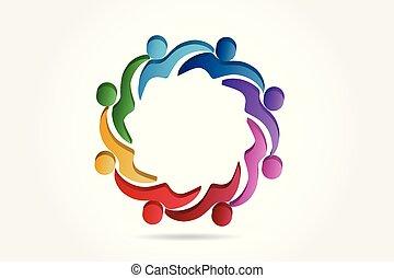 ajudando, logotipo, equipe, vetorial, pessoas