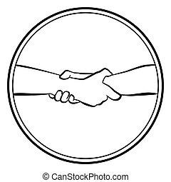 ajudando, logotipo, segurar, redondo, mãos