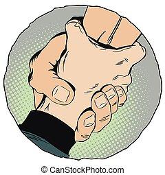 ajudando, mão., estoque, illustration.