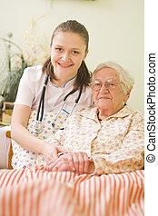 ajudando, mulher, doente, idoso