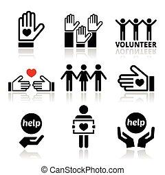 ajudando, pessoas, voluntário, ícones