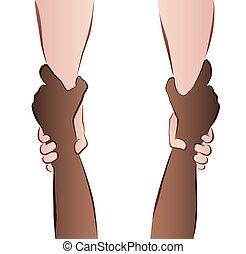ajudando, poupar, mãos, interracial