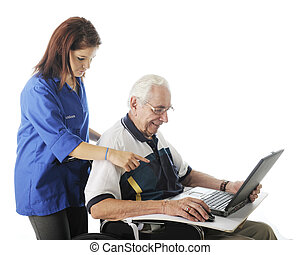 ajudando, seu, computador, idoso