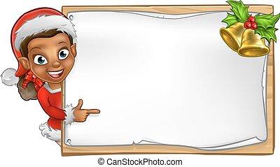ajudante, personagem, duende, sinal, santa, natal