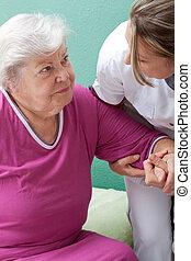 ajudas, paciente enfermeira, cima, adquira