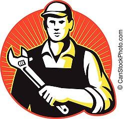 ajustável, repairman, chave, mecânico, retro