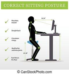 ajustável, sela, ergonomic., sentando, altura, tabela, cadeira