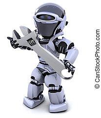 ajustable, robot, llave inglesa