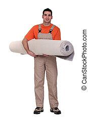 ajustador, proceso de llevar, rollo, alfombra