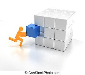 ajustamento, parte faltante, de, um, quebra-cabeça, cubo