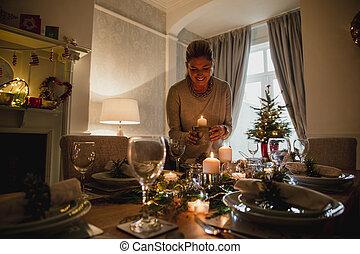 ajustando tabela, para, jantar natal