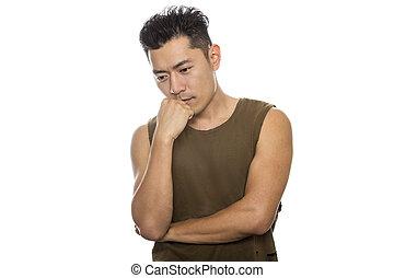 ajustar, atlético, confundido, pensando, macho asiático, ou