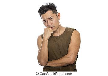 ajustar, atlético, pensando, confundido, ou, macho, asiático