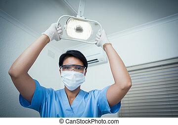 ajustar, femininas, luz, odontólogo