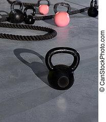 ajustar, ginásio, crucifixos, kettlebells, condicão física,...