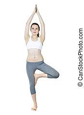 ajustar, menina, fazendo, árvore, ioga posa