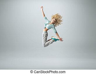 ajustar, mulher, em, grande, salto