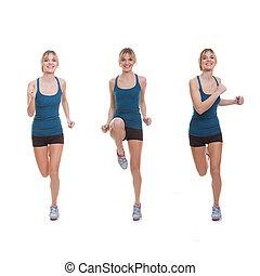 ajustar, mulher, exercitar
