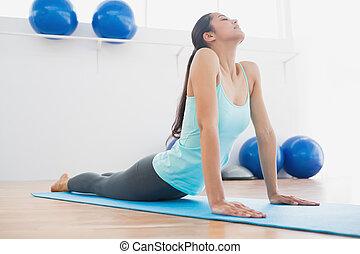 ajustar, mulher jovem, fazendo, a, pose cobra, em, condicão física, estúdio