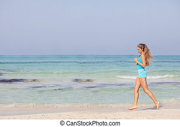 ajustar, mulher saudável, sacudindo, ou, executando, ligado, litoral