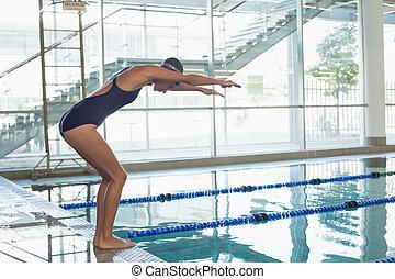 ajustar, nadador, aproximadamente, para, mergulho, piscina