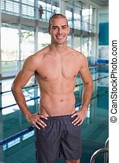 ajustar, nadador, por, piscina, ao ar livre, centro