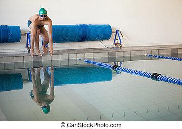 ajustar, nadador, pronto, para, mergulho, piscina