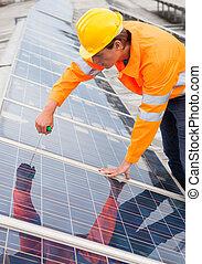 ajustar, painéis, solar, engenheiro