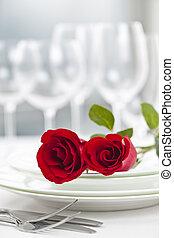 ajuste de cena, romántico, restaurante