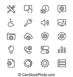 ajuste, delgado, iconos