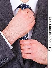 ajustement, sien, necktie., homme affaires