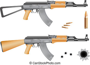 Ak-47, bullets and gunshot holes isolated on the white ...