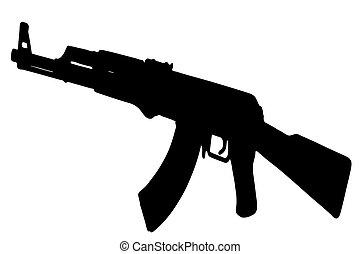AK-47 Kalashnikov vector black on white background