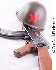 AK-47 - A AK-47 with a russian helmet