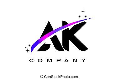 AK A K Black Letter Logo Design with Purple Magenta Swoosh