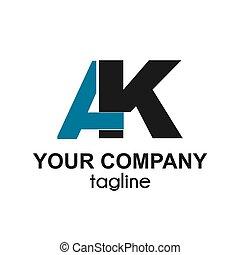 ak, carta, logotipo, icono, compañía, iniciales