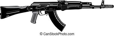 AK - Kalashnikov machine gun vector image