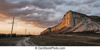 Ak-Kaya White Rock at sunset in summer, Crimea.