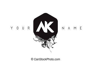 AK Letter Logo Design with Black Ink Spill - AK Black Ink...