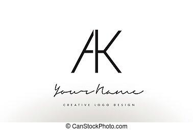 AK Letters Logo Design Slim. Creative Simple Black Letter ...