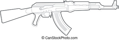 AK47 silhouette - Vector kalashnikov gun on white background