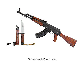 AK47 Submachine Gun - AK47 submachine gun and bayonet...