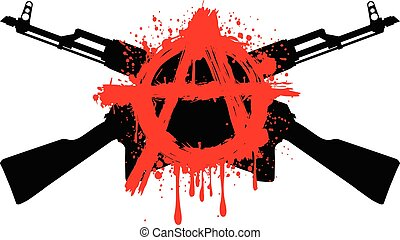 ak47 symbol anarchy - Vector illustration two crossed gun...